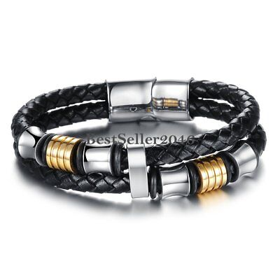 """Mens Stainless Steel Braided Leather Bracelet Cuff Bracelet Magnetic Clasp 8"""""""