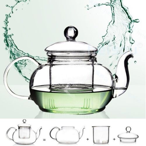 1000ML Heat Resistant Clear Glass Teapot With Infuser Flower