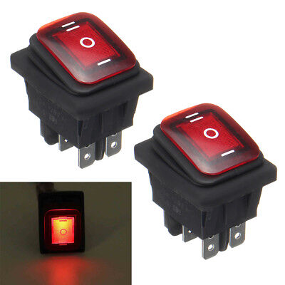 Waterproof 3-position Rocker Switch Red Led Onoffon 6-pin Dpdt Ac 10a250v