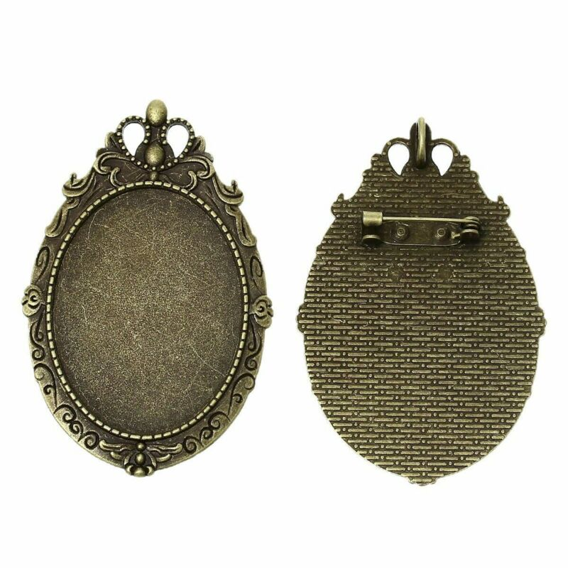 40x30mm Antique Bronze Cameo Backing  Pendant and Brooch Setting with Pin 787x