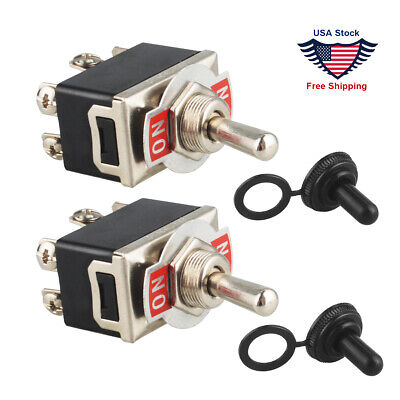 2X 15A 125VAC DPDT 6Terminal On-(ON) Toggle Switch Knob Boot+ Cap Waterproof