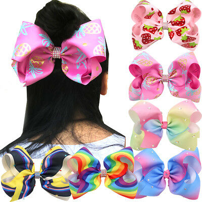 6Pc Teens Mix Colors 8 inch Big Hair Bows Alligator Hair Clips for Girls Toddler