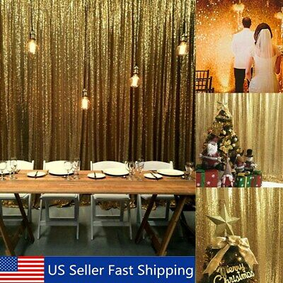Gold Shimmer Curtains (2 Panels Gold Shimmer Sequin Curtain Potography Backdrop Wedding Decor )