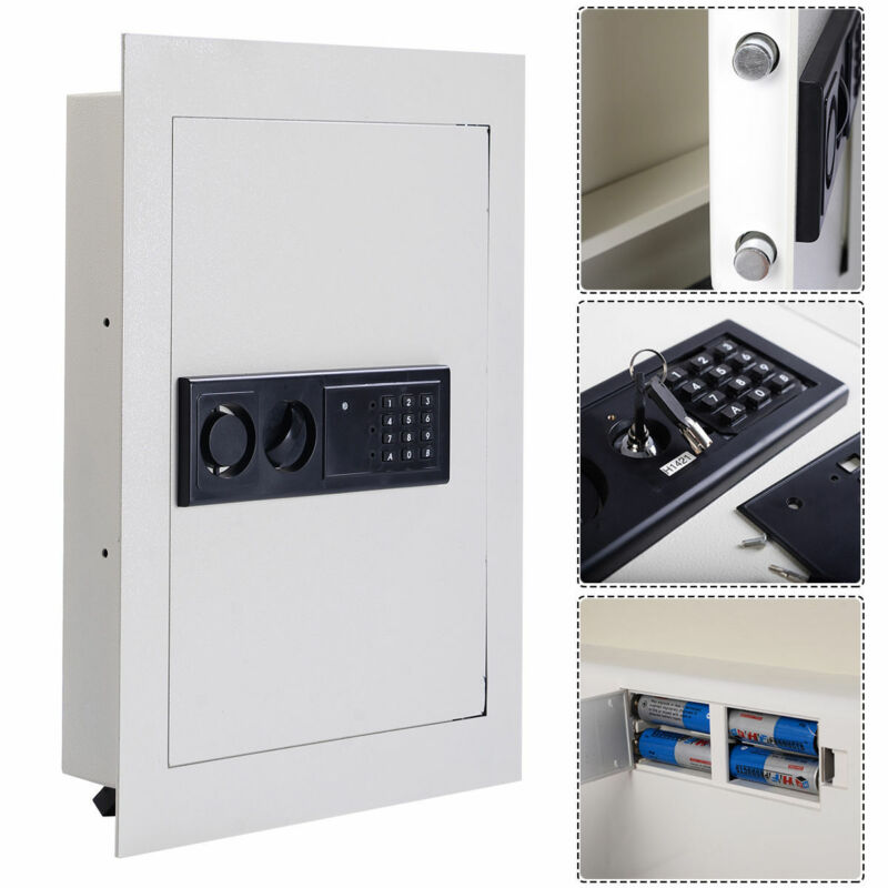 Costway 0.8CF Digital Flat Recessed Wall Safe Home Security Gun Cash Box Locking