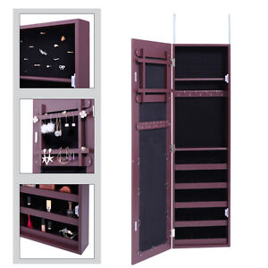 Over The Door Mirror Jewelry Cabinet Armoire Organizer Storage Box Ring  Brown