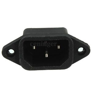 IEC 320 C14 Mount Male Plug 3Pin PCB Panel Power Inlet Socket Connector AC 250V
