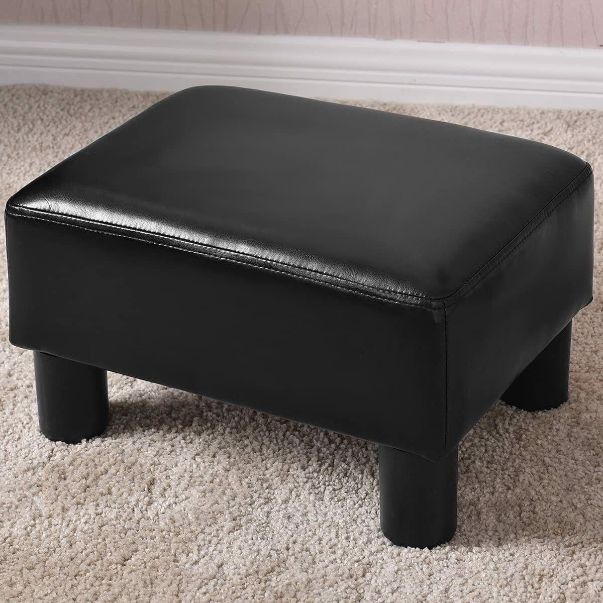 Fußhocker Sitzhocker Polsterhocker Fußschemel Sitzbank PU Bezug 40 x 30 x 24 cm