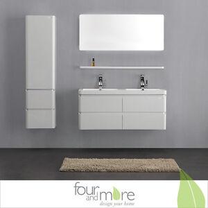 mobile da bagno in legno bianco lucido con lavandino in ...