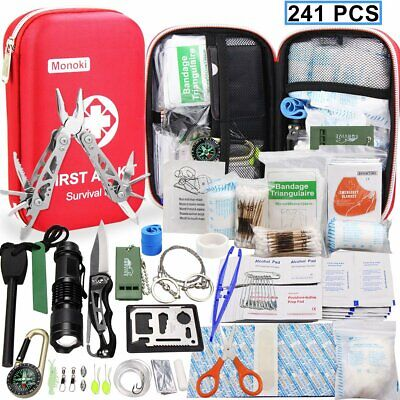 - 241 Pcs First Aid Emergency Survival Kit Car Travel Outdoor Rescue Medical Bag