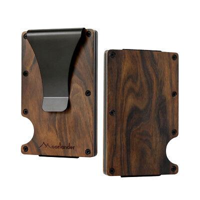 Mini Card Case - 2018 New Wood Credit Card Holder Wooden Case Mini RFID Metal Wallet Money Clip