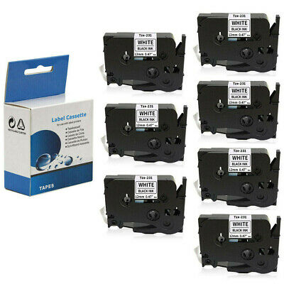 7x Label Maker Tape 12mm 0.47 White Compatible With Brother P-touch Tz231 Tze231