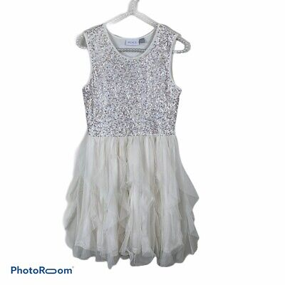 The childrens place white tulle dress XL sequins sleeveless
