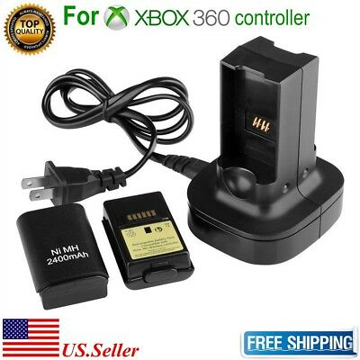 Dual Battery Charger Charging Station Dock   2X Battery For Xbox 360 Controller