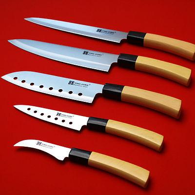 5-Knife Set Sashimi  Stainless Steel Sushi Chef Kitchen Cutlery Cook YingGun MO