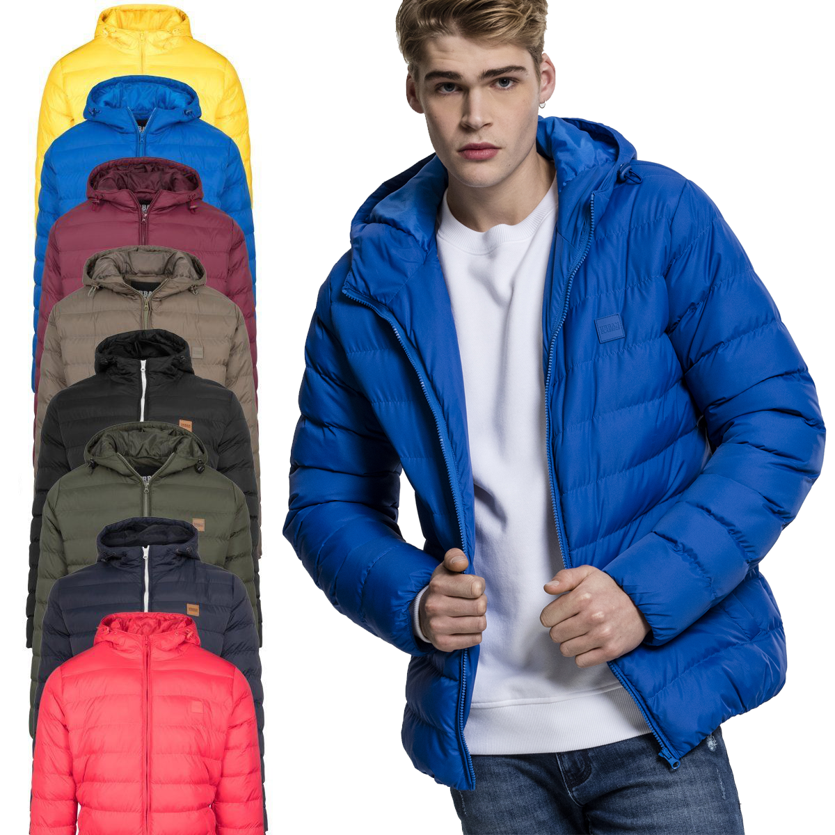 Details about Urban Classics Basic Bubble down Jacket Quilted Winter Jacket Hood