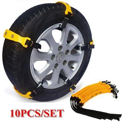 10Pcs Car Snow Tire Chains Beef Tendon VAN Wheel Tyre Anti-skid TPU Chains Set