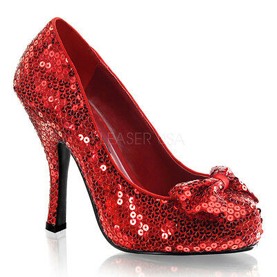 Red Sequin Shoe (Red Sequin Ruby Slippers Wizard of Oz Dorothy Costume Shoes Heels size 6 7 8)