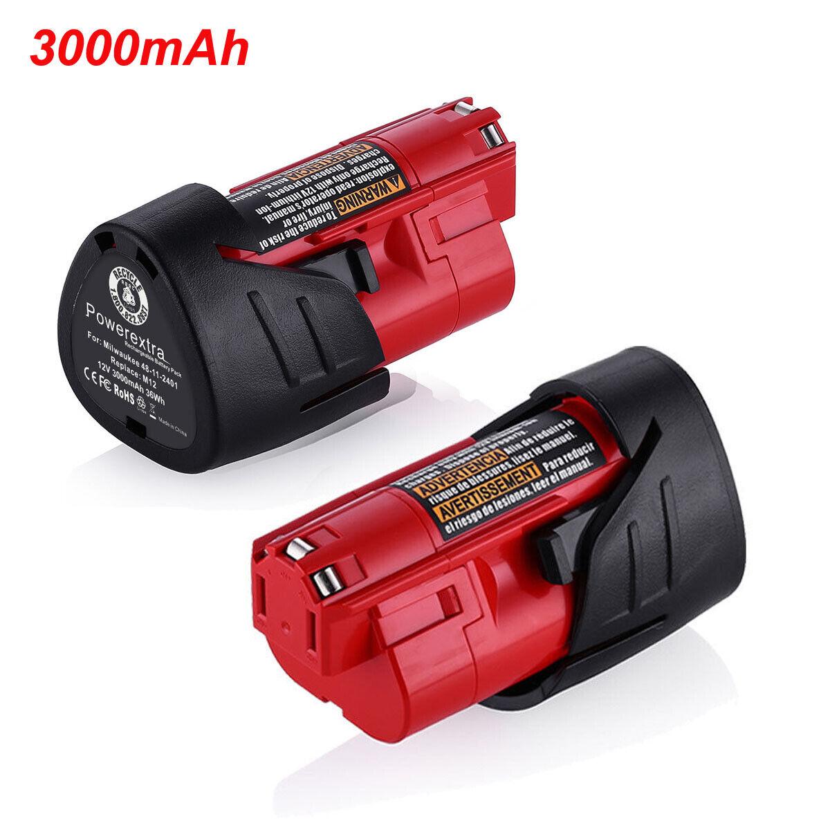 For Milwaukee M12 48112401 LiIon Lithium 12V 12 Volt 3000mAh Battery 1 Pack