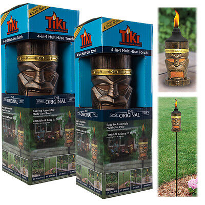 """2 King TIKI Torches Set Outdoor 4-In-1 For Tabletop Deck Garden Or 64"""" Yard Lamp"""