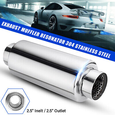 2.5'' Inlet 63mm Outlet Exhaust Muffler Tail Rear Pipe Resonator Stainless Steel