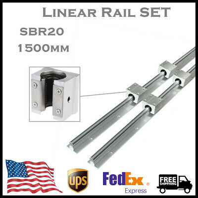 Sbr20-1500mm Linear Rail Fully Supported Guide Shaft 4pc Sbr20uu Block Bearing