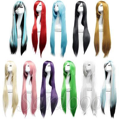 100cm Cosplay Perücke Langhaarperücke Damenperücke Glatt Anime voll Wig Langhaar - Anime Langes Haar Perücke