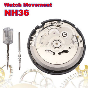 Japan Mechanical NH36 Automatic Watch Day Date Movement Wristwatch High Accuracy