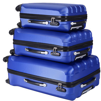 ECO 3 Pcs Luggage Travel Set Bag ABS Trolley Suitcase w/TSA lock Blue  4 Wheels