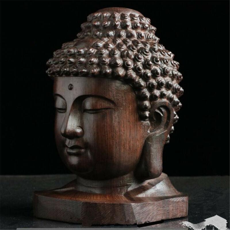 Hand Carved Buddha Statue Tathagata Sculpture Sakyamuni Head Redwood Crafts