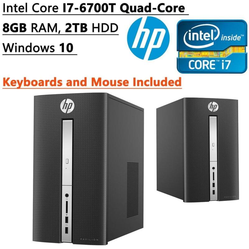 2016 HP Pavilion Desktop- 6th Gen Quad Core Intel I7-6700T Processor up to 3.6GHz, 8GB DDR4 Memory, 2TB 7200rpm HDD, DVD±RW, 802.11ac, Bluetooth, HDMI+VGA Dual Monitor Support, Windows 10 Hp tower