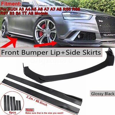 Front Bumper Lip Splitters+2.2m Side Skirt Extension For AUDI A3 A4 A5 A6 A7 A7