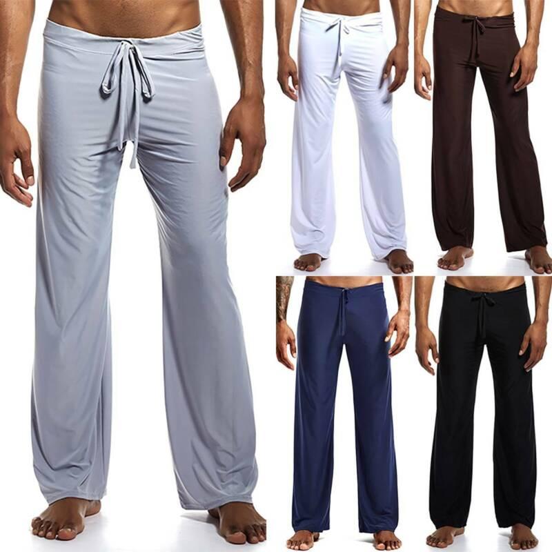 Mens Casual Plain Pajamas Lounge Pants Sleepwear Baggy Wide