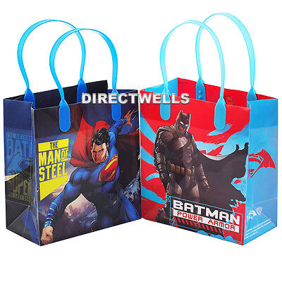 6 Pcs Batman Superman Authentic Licensed Small Party Favor Goodie Gift Bags - Batman Gift Bags