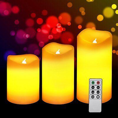 Set of 3 LED Flickering Flameless Votive Candles Light + Remote Control & Timer