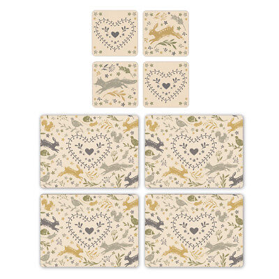 Cooksmart Woodland Placemats and Coasters Table Mats British Wild Animals Cute