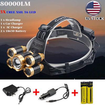 80000Lumens 5x XM-L T6 LED Rechargeable 18650 Headlamp Head Light Torch Lamp USA