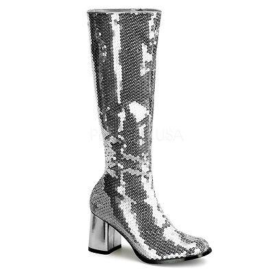 BORDELLO Sexy Silver Sequin Women's Burlesque Gogo Knee High Boots SPE300SQ/S](Sequin Gogo Boots)