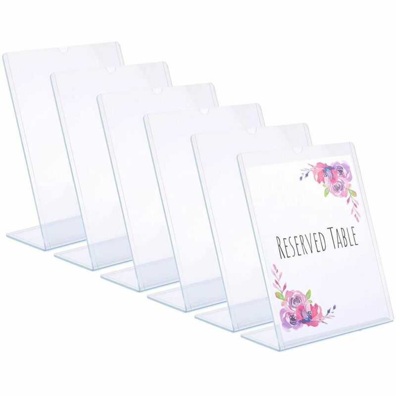 Clear Slant Back Acrylic Sign Holder, Table Top Vertical Display Stand (6 Pack)