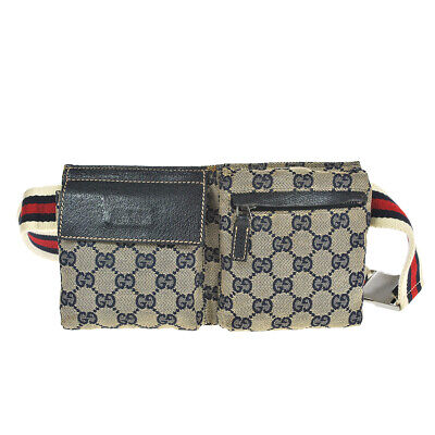 N5 RARE Mini Size GUCCI Auth Sherry Pouch Bumbag Belt Bag Cross body Fanny Pack