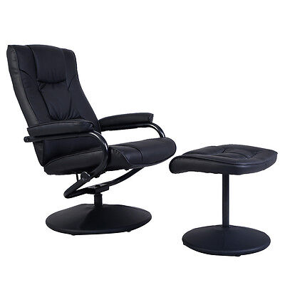 Recliner Chair Swivel Armchair Lounge Seat w/ Footrest Stool Ottoman Home