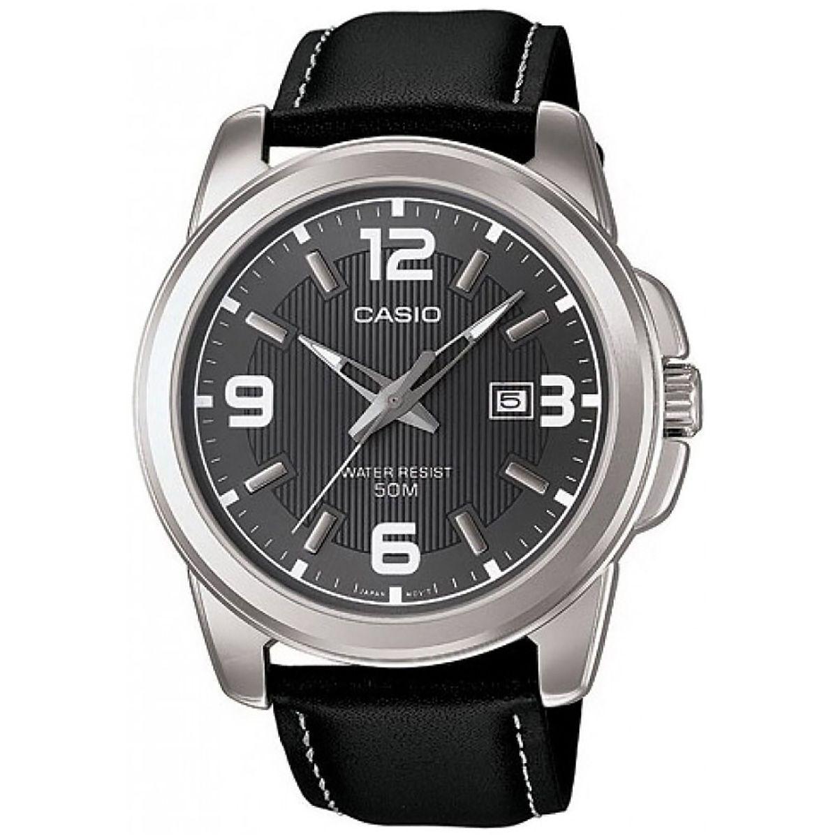 Casio Uhr MTP-1314PL-8A Herren Armbanduhr Leder Schwarz Silber Datum NEU & OVP