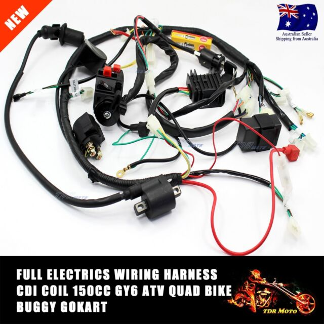 Full Electrics wiring harness CDI coil Key 150CC GY6 ATV Quad Bike Buggy gokart