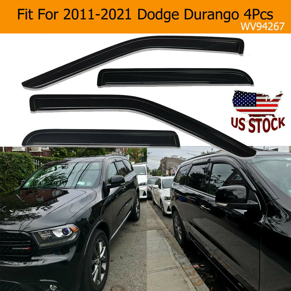 Details about  /Vent Shade Outside Mount Window Visor Sunroof Type 2 5pc For Dodge Durango 98-03