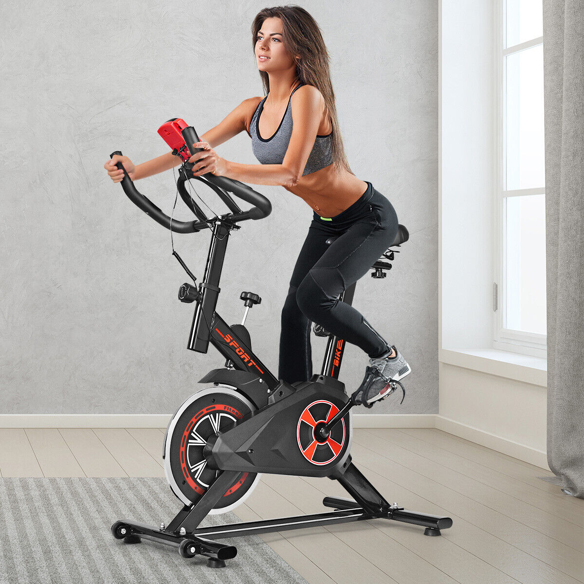 Indoor Fahrrad mit 6KG Schwungrad Heimtrainer Fahrrad Fitnessbike LCD-Anzeige
