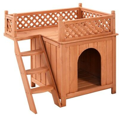 Outdoor Wooden Pet Puppy Dog House Ladder Raised Bottom Balcony Bed Play Rest