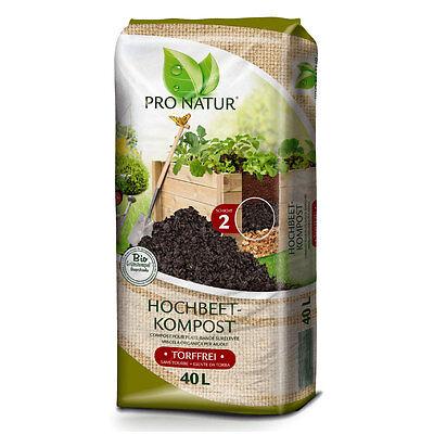 ProNatur Hochbeet-Kompost 40 L Befüllung Hochbeete Hochbeeterde Erde Grünkompost