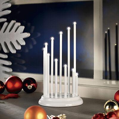 LED Stimmungsleuchte Adventsleuchter Metall Fenster Tischleuchter Weiß SL27-1