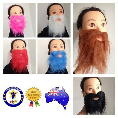 Fake Red Beards (FAKE FALSE BEARD MOE MOUSTACHE PINK RED BLACK BROWN WHITE GREEN SCRUFFY)