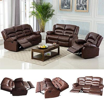 Motion Sofa Loveseat Recliner Living Room Bonded Leather Espresso