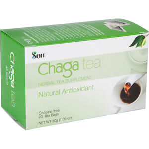 Siberian Chaga Mushroom Tea 20 bags, Wild Organic, Blend of raw & extract powder